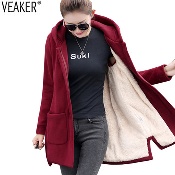Autumn Winter Women's Fleece Jacket Coats Female Long Hooded Coats Outerwear Warm Thick Female Red Slim Fit Hoodies Jackets