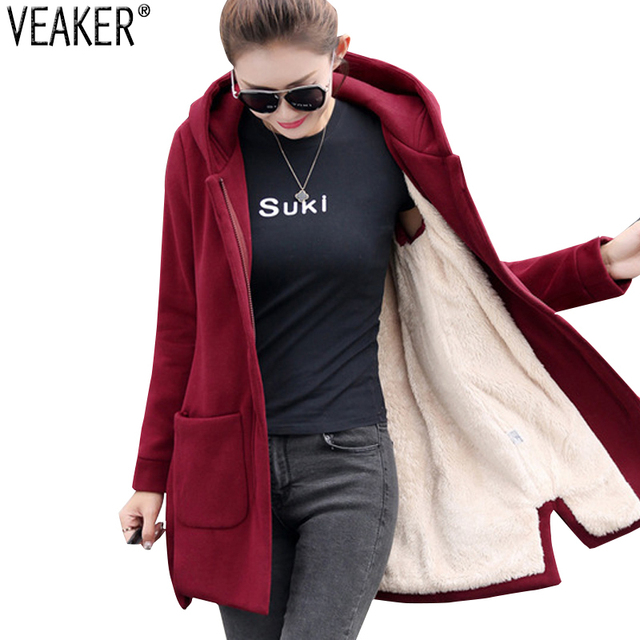 Autumn Winter Women's Fleece Jacket Coats Female Long Hooded Coats Outerwear Warm Thick Female Red Slim Fit Hoodies Jackets