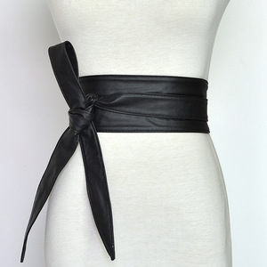 Image 4 - Cinturón de cuero sintético con cordones para mujer y niña, corsé ancho, cinturón adelgazante de cintura alta, lazos, VKAC1002