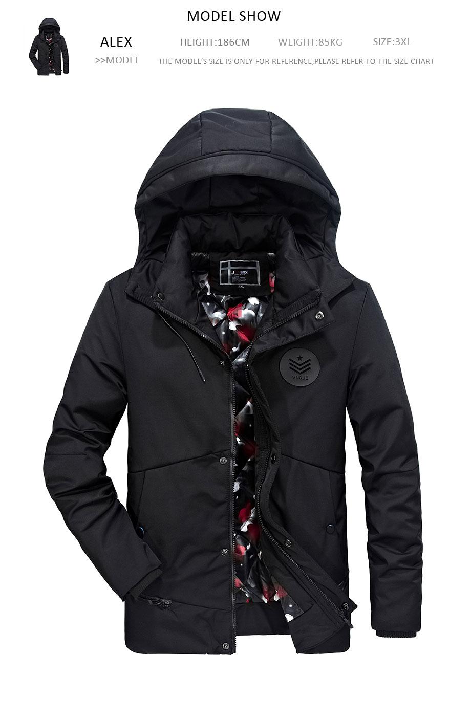 Marca 2018 cotone di alta qualità 100% uomo inverno giacche e cappotti con  cappuccio spesso caldo casual giovane uomo Parka fit neve freddo PLQ8612 91a082369c6