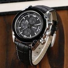 Army Men Wrist Watch Black Genuine Leather Band Strap Chronograph Cool Business Quartz Military Luxury Aviator