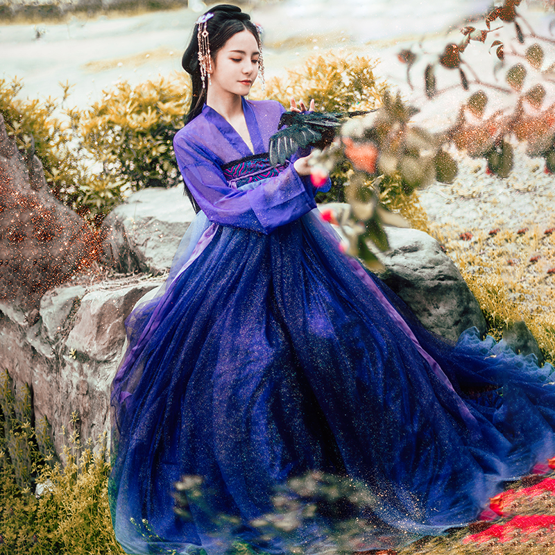 New Sparkling Hanfu For Women Gradual Purple Clothing Starry Sky Skirt Cosplay Performance Swing Dancer Stage Costume BL1551