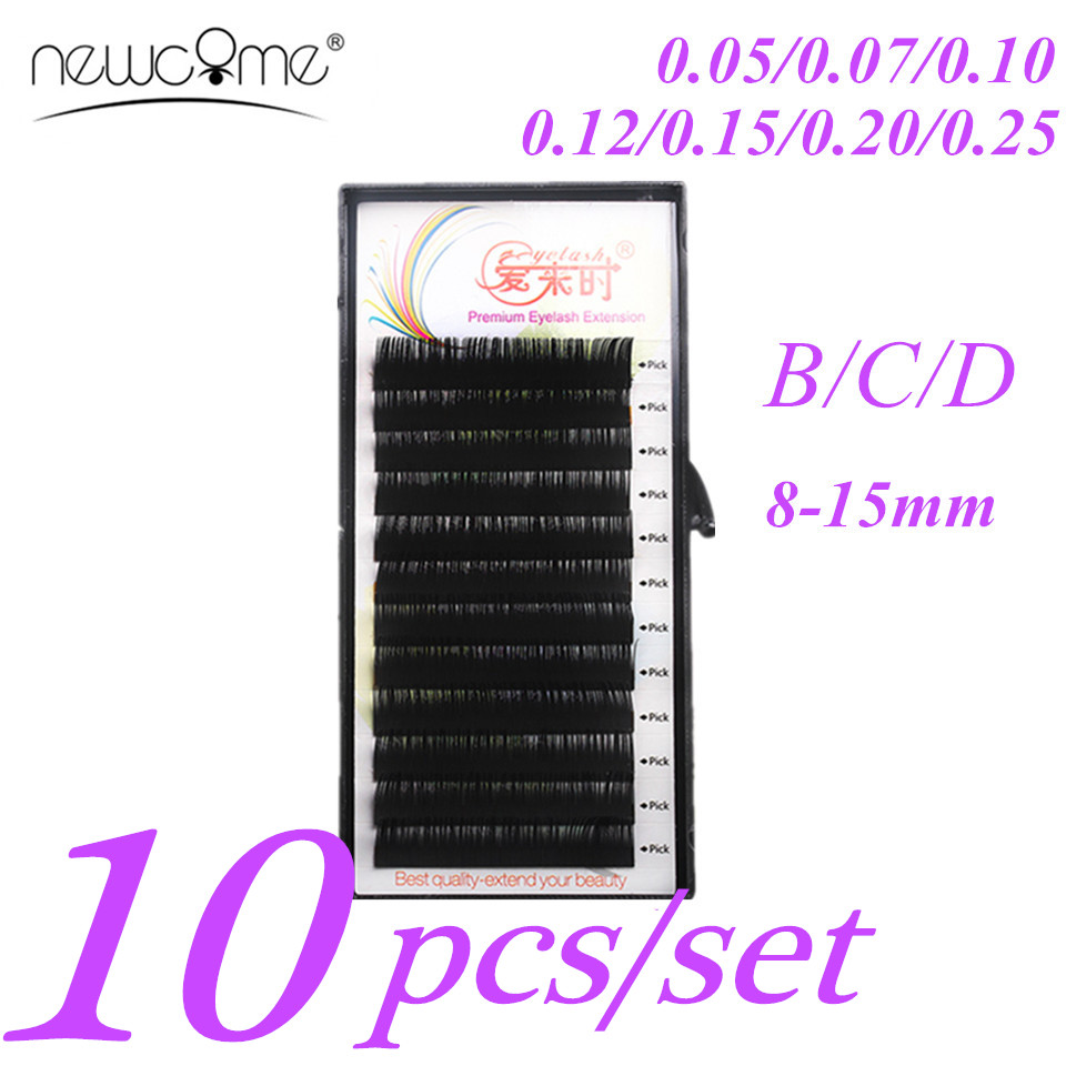 10 bakker Alle størrelser B / C / D Curl Individual Lashes Øjenvipper Extension 3D Volume Korea Silk Mink False Eyelash Extension