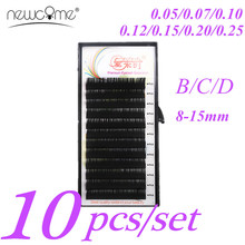 NEWCOME 10 Trays All Sizes B/C/D Curl Individual Lashes Eyelash Extension 3D Volume Korea Silk Mink False Eyelashes Extension