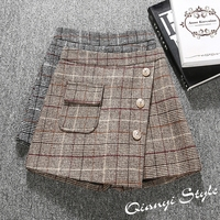 2018 Spring Women Shorts High Waist A Line Wide Leg Plaid Woolen Skirt Shorts Boots Shorts