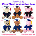 Free Shipping Plush 17cm Graduation Teddy Bear Gift ,6Colors, 6pcs/LOT