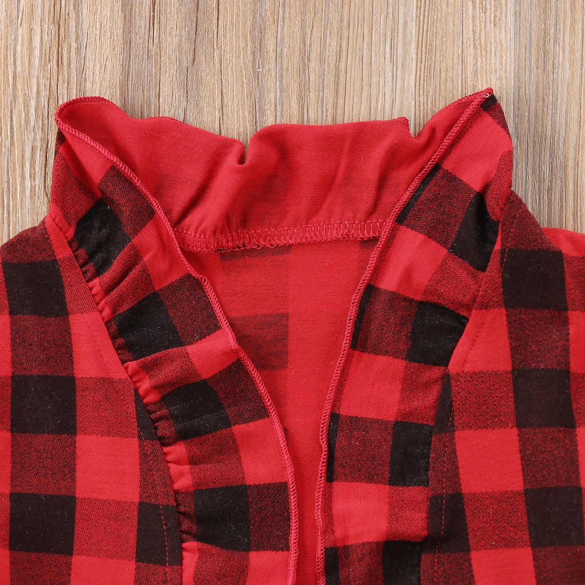 Neonate Bambini Controllato Volant Tuta Sportiva del Cappotto Del Bambino Bambini Giacche Top Babys di Modo Rosso Piaid Vestiti Del Bambino Che Coprono Gli Insiemi