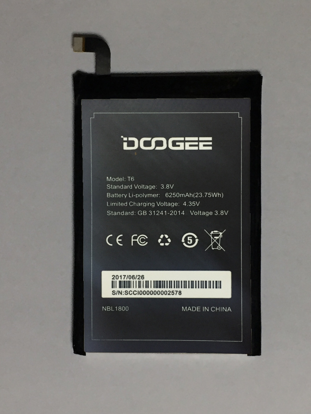 DOOGEE T6 pro Battery 6250mAh 100% Original New Replacement accessory accumulators For DOOGEE T6 Smart Phone + In stock