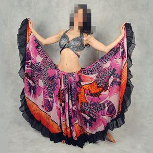 Image 5 - 720 Degrees Tribal Belly Dance Performance Gypsy Clothes Butterfly printed Flamenco Wear Women Sheer Chiffon Skirts