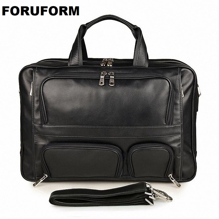 100% Genuine Leather Men Messenger Bags Business Bag 17 Inch Laptop Men Bags Briefcase Tote Shoulder Men's Travel Bag LI-1448