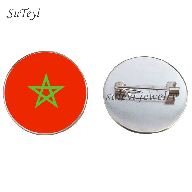 SUTEYI Phi Phù Hiệu Flag Pattern Pha Lê Brooch Mauritania/Morocco Pins Brooch Mozambique/Namibia Glass Dome Trâm Cài Jewelry