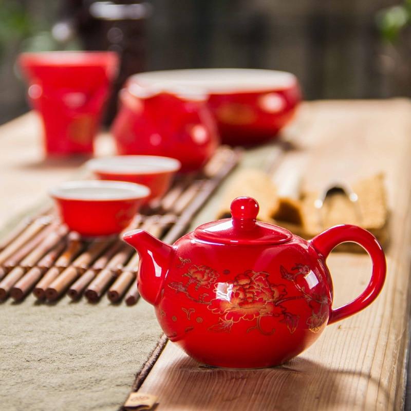 Қытай шайнек фарфоры Қызыл үйлену шай - Тағамдар, тамақтану және бар - фото 4