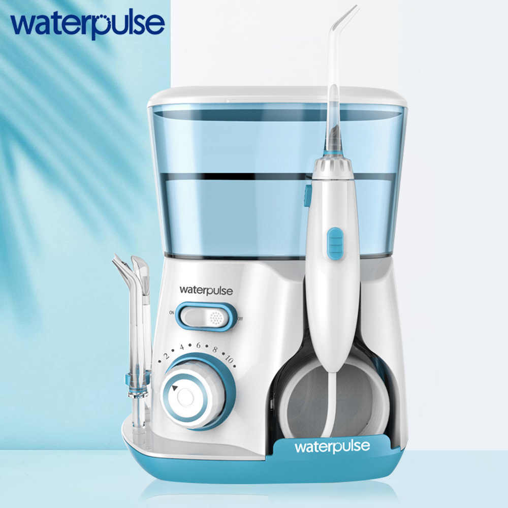 Waterpulse V300G Irrigateur Oral 5 Buses Flosser Eau Dentaire Réglage 10 niveaux de pression Jet d'eau Dentaire Capacité Hygiène Orale 20-120PSI Flosser Dentaire