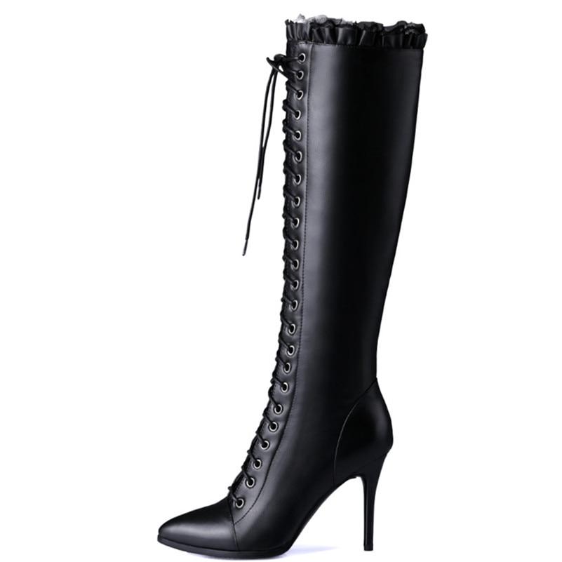 Véritable Bout Automne Femme Haute Lacent Bottes Talons Chaussures Chaud Femmes Conasco Pointu Nouvelles Genou En Noir Cuir Hiver Long RznpwqFE