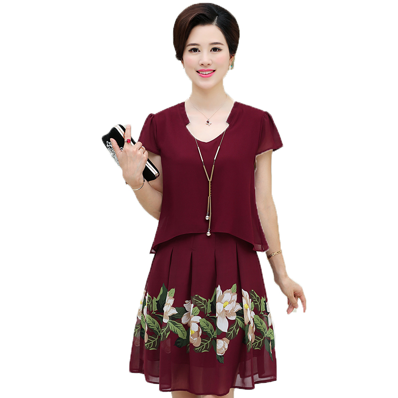 WAEOLSA - store Summer Mature Lady Short Sleeve Chiffon Dresses Woman's Red Blue Flower Print Fake 2PCS Dress  Elegant Women Layered Robe Femme