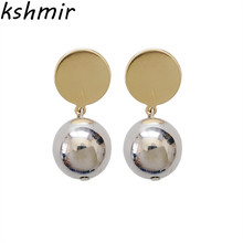 Europe and the United States contracted smooth round ball ball earrings pendants temperament geometric wafer earrings hipster цена