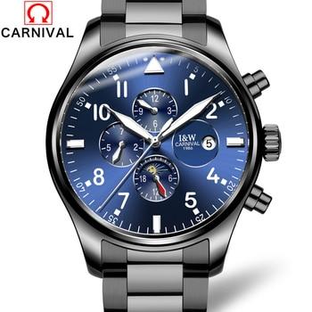 b07ee9a4ff57 2017 Top marca de lujo Carnival mens relojes moda reloj mecánico  multifunción 6 manos hombres reloj luminoso