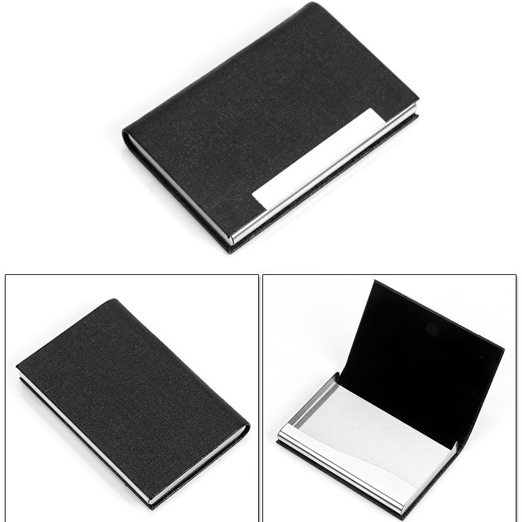 Personalized Credit Black Leather Stainless Steel Business Card Case