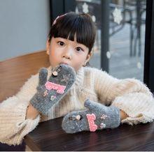 GLV842 Bwinter thickening velvet children warm font b gloves b font girl children rabbit fur fingerless
