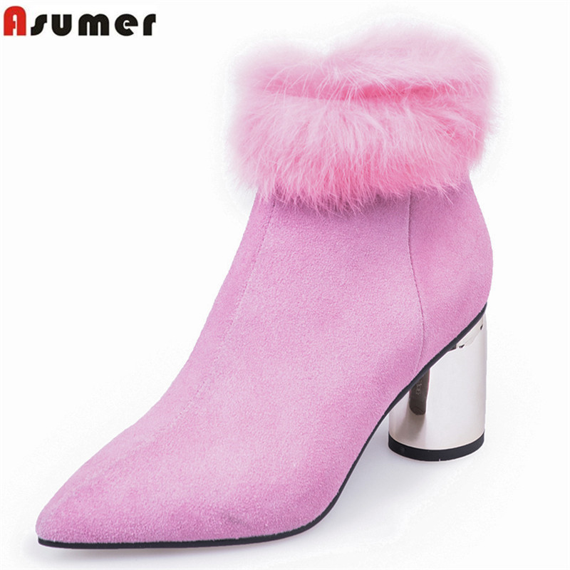 ASUMER 2018 hot sale new ankle boots pointed toe zip suede leather boots round heels shoes ladies autumn winter boots big size asumer big size fashion ankle boots women pointed toe zip suede leather boots embroider high heels shoes autumn winter boots