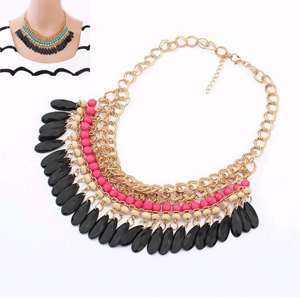 Tomtosh 2015 Collier Femme statement resin beads Bohemian s