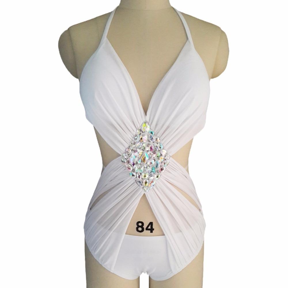 1ff25f174d0a 2018 Vikinii White Sexy Crystal One Piece Swimwear Women Bathing Suit  Rhinestone Luxury One Piece Swimsuit Women Swim Wear-in Body Suits from  Sports ...