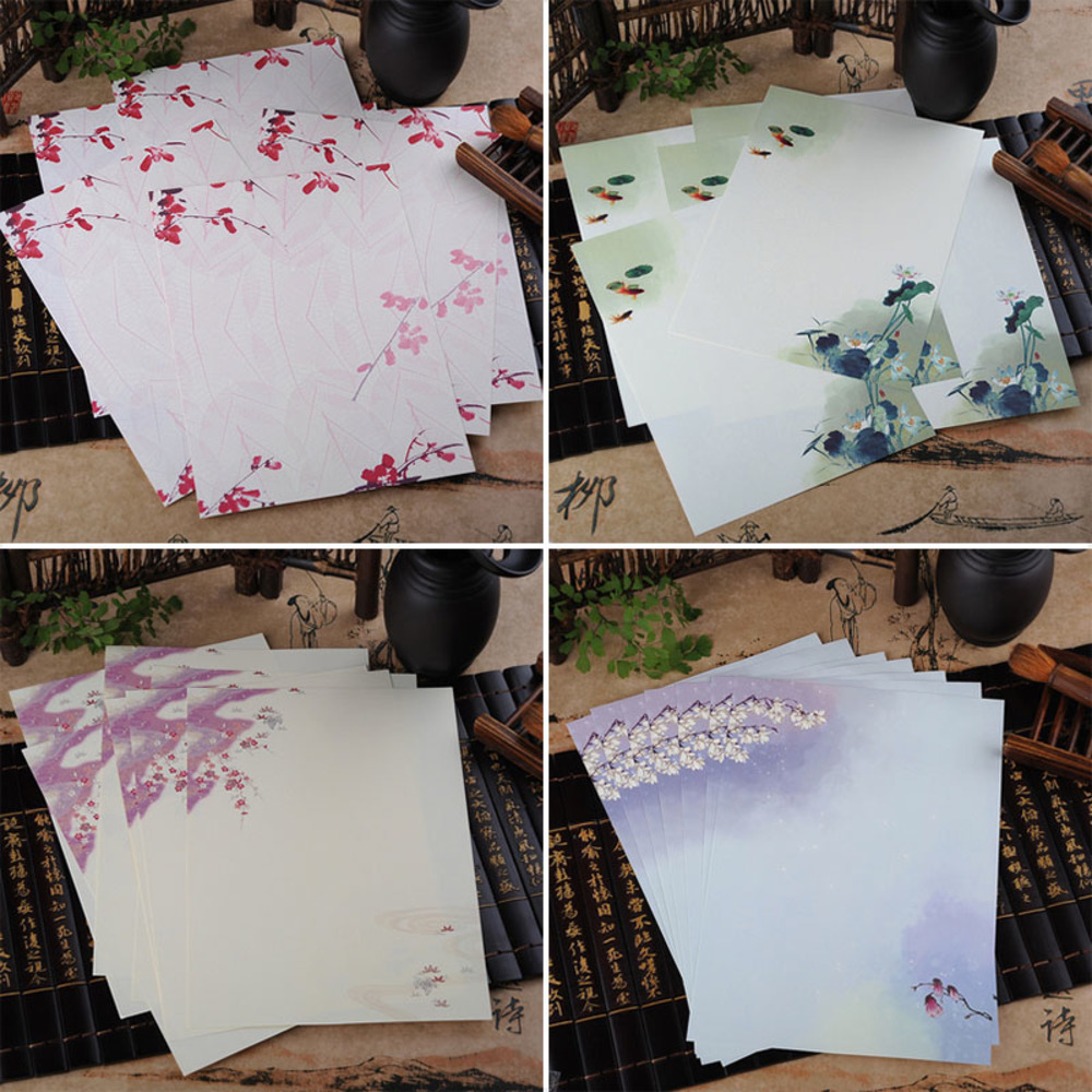 8 pieces / more pieces of ancient Chinese Feng Xin seal paper lovely flowers and paper children gifts Korean stationery 833