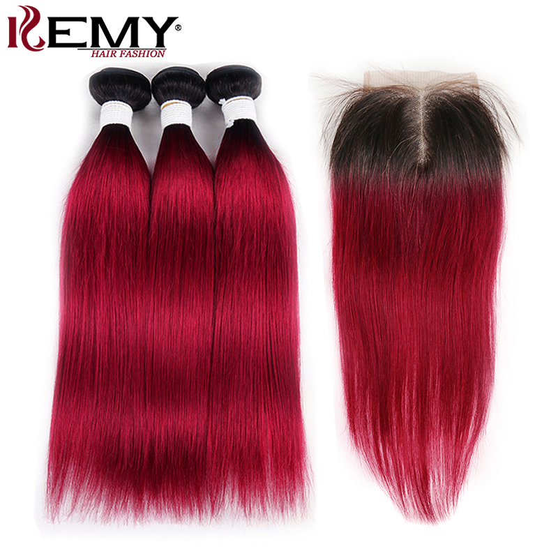 1b 99j/Burgundy Bundles With Closure Kemy Hair Brazilian Straight Human Hair Weave Bundles Non Remy Two Tone Hair Extension
