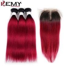 1B 99J/Burgundy Human Hair Bundles With Closure KEMY HAIR Brazilian Straight Weave 4x4 Non-Remy