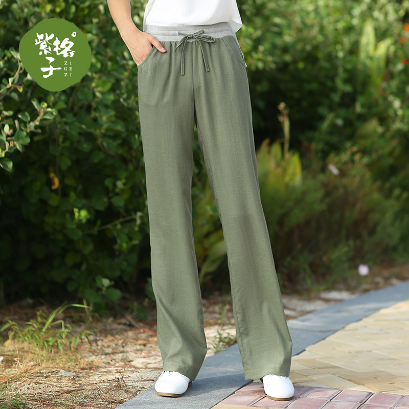 Women's Vertical Wide Leg Pants Summer High Waist Cotton and linen Straight Pants Spring trousers Linen Pants Loose Casual Pants
