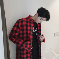 M 2XL 2017 Spring And Summer Sidepiece Zipper Medium Long Shirt Men Black And Red