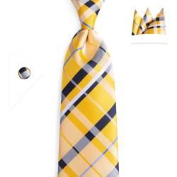 """DiBanGu плед Желтый Проверьте 3,14 """"шелковый галстук вечерние свадебные набор носовых платков Тканые Классический Для мужчин галстук N-7064"""