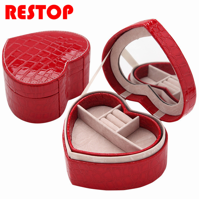 Hot Sale Heart Shaped Jewelry Box Women Gift Travel Makeup Organizer Alligator Pattern Case with Mirror Jewelry Organizer RES200