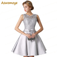 Aswomoye Silver Short Evening Dress 2018 New Illusion O-Neck Open Back Lace Up Prom Dresses Party Dress O-Neck robe de soiree Evening Dresses