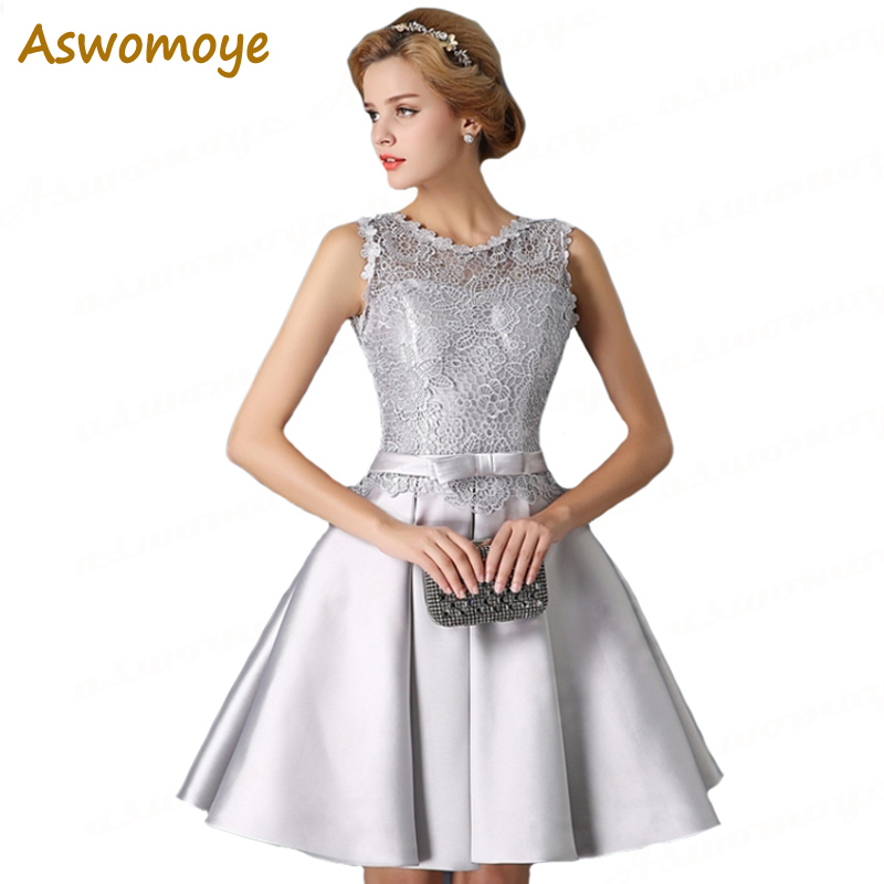 Aswomoye Silver Short   Evening     Dress   2018 New Illusion O-Neck Open Back Lace Up Prom   Dresses   Party   Dress   O-Neck robe de soiree