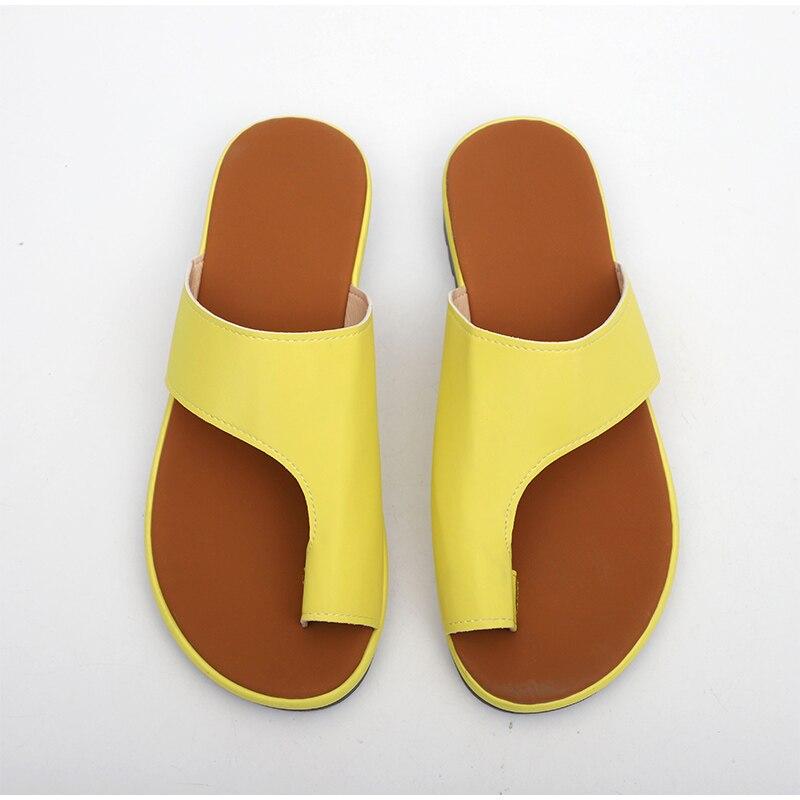 HTB1J4fHav1H3KVjSZFBq6zSMXXaH MCCKLE Women Comfy Plain Shoes Flat Platform Ladies Casual Big Toe Foot Correction Sandals Orthopedic Bunion Corrector Flip Flop