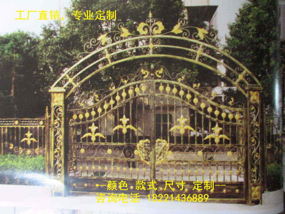 Custom Made Wrought Iron Gates Designs Whole Sale Wrought Iron Gates Metal Gates Steel Gates Hc-g97