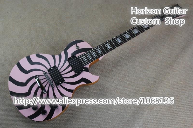 Custom Shop Plus Zakk Wylde Signature Electric Guitar Bullseye Black Pink Natural Back In Stock