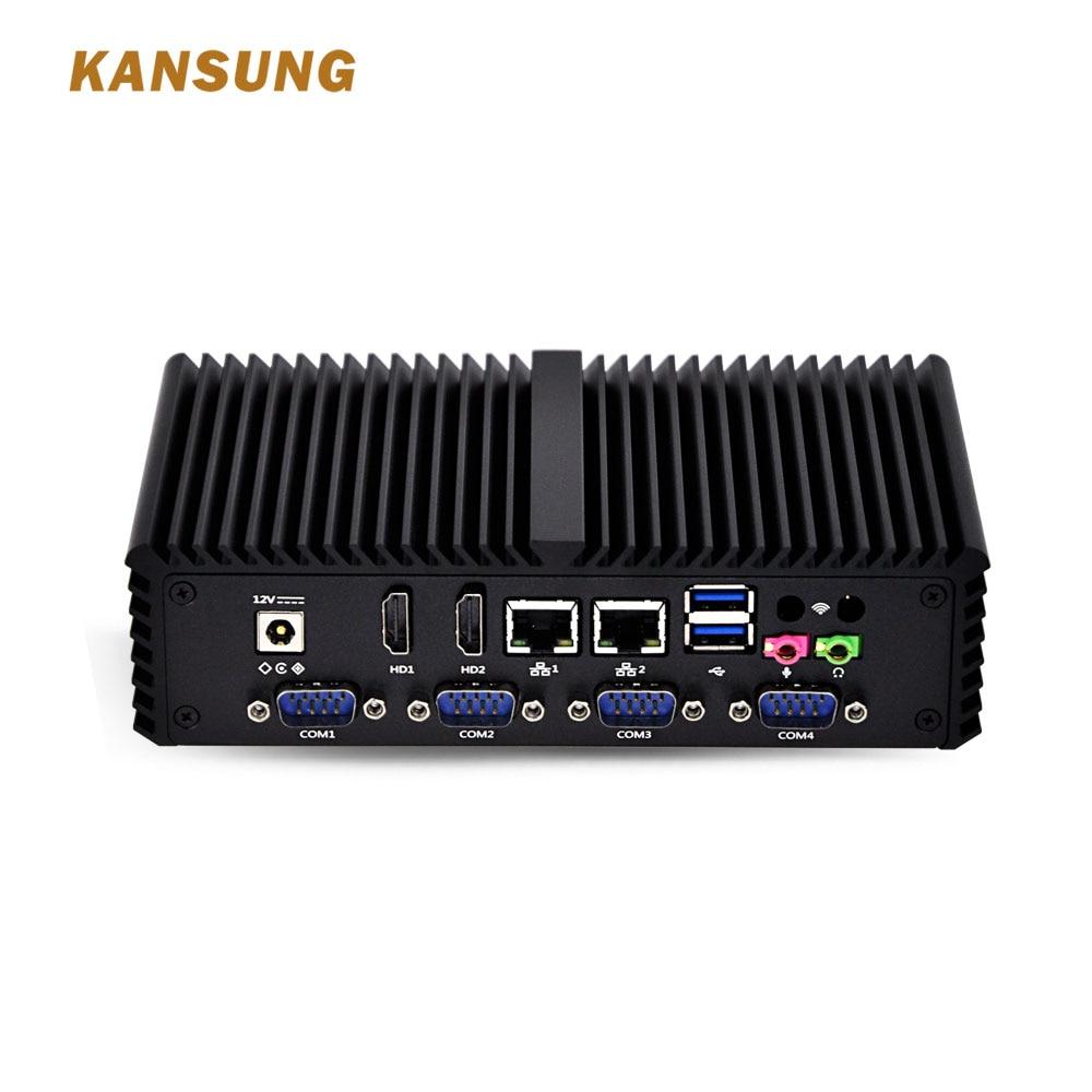 Fanless Mini PC Linux Windows PC Intel Core I3 4005U 6*COM Firewall Desktop Computers Motherboards Serial Port Pocket Pc