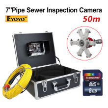 EYOYO 50M Sewer Pipe Waterproof Video Camera 7 Screen Drain Pipe Inspection DVR Free shipping