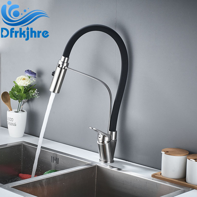 Kitchen Faucet Hot and Cold Water Chrome and Rubber Finish Pull Down Spray Black Kitchen Faucet Pull Out Mixer Tap new original 18 5 inches lcd hm185wx1 400 hm185wx1 300 warranty for 1 year