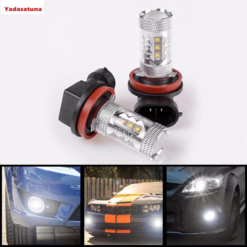 2*H16 (Type 2) H16LL High Power 80W CREE Chips Super Bright 6000K Xenon White LED Fog Lights Lamps Replacement For Japanese Cars
