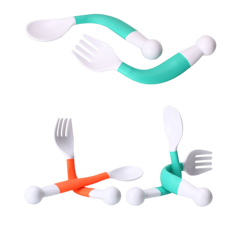 1 Set Safe PP Flexible Baby Spoon+ Fork Adjustable Handle Children Dishes Learning Kids Tableware 2 pcs/Set