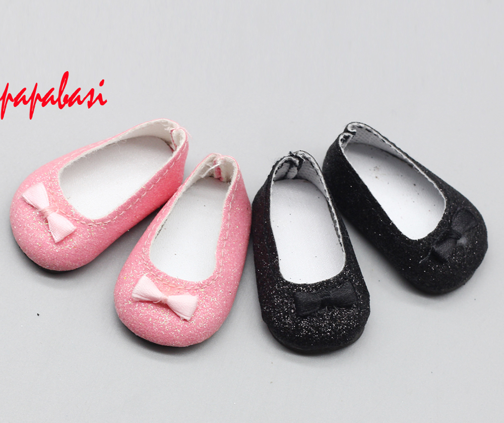 5cm Fashion Glitter with Bow Design Doll Shoes For BJD Doll, Russian Doll, 1/6 Mini Textile Doll Shoes Accessories