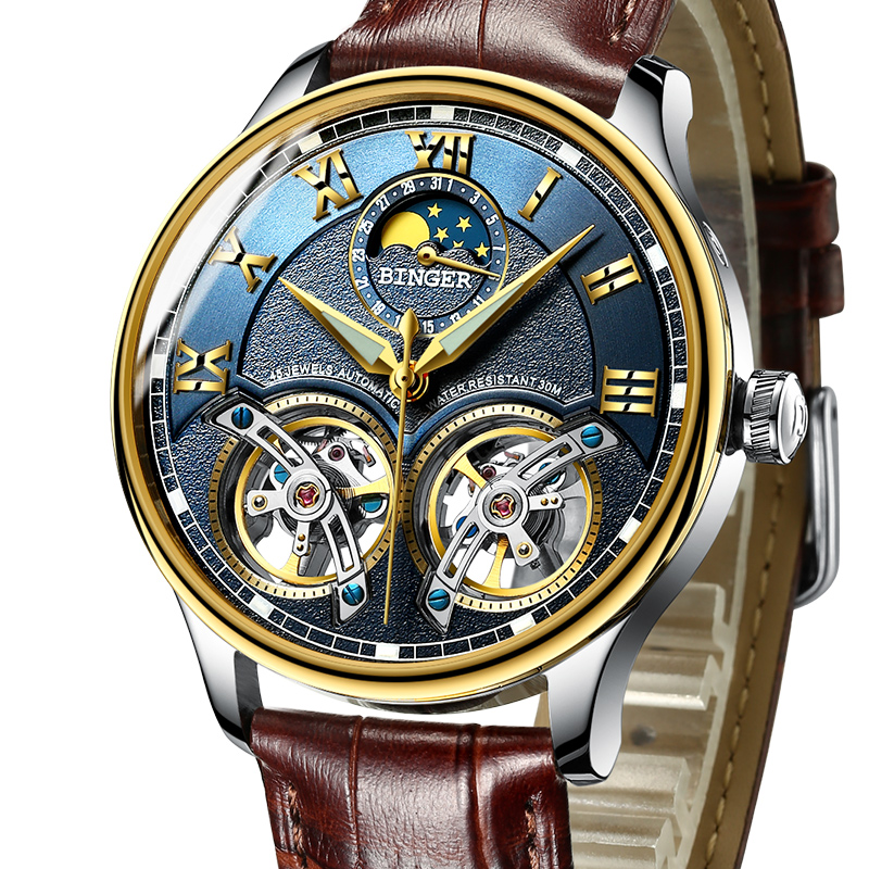 2017 Mechanical Men Watches Binger Role Luxury Brand Skeleton Wrist Sapphire Waterproof Watch Men Clock Male reloj hombre 8606M switzerland mechanical men watches binger luxury brand skeleton wrist waterproof watch men sapphire male reloj hombre b1175g 3
