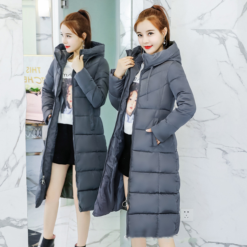 fashion korean Winter parkas 2018 Cotton Down thickened long Coat women Hooded tops Slim Long Parka solid color elegant Outwear