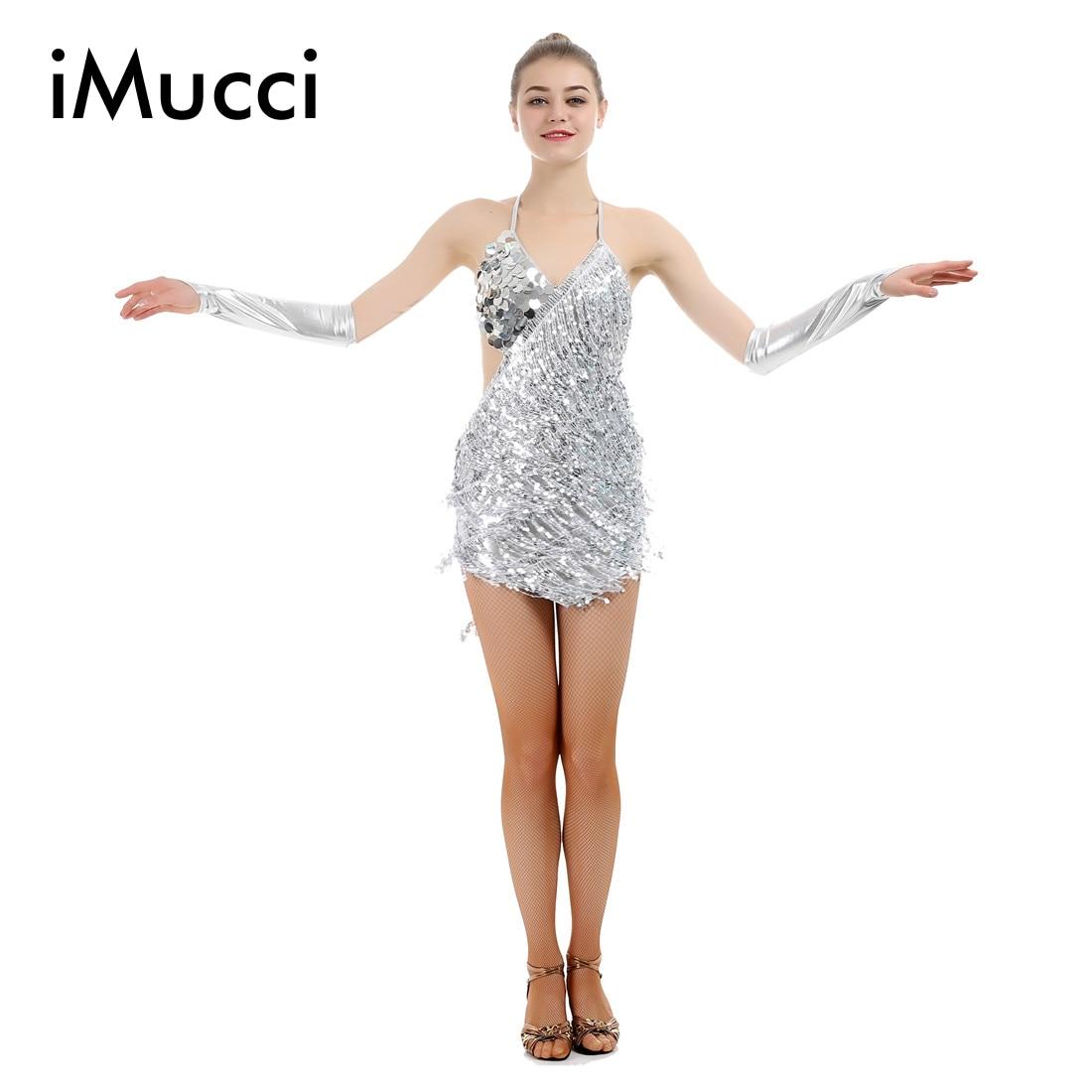 iMucci Silver Paillette Tassel Latin Dance Dress Woman Fringe Samba Costumes Black Tango Dresses Women Gold Ballroom Dancewear