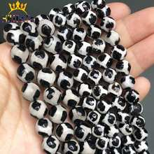 Faceted Black Tibetan Mystical Old Agates Spherical Beads Loose Stone Beads For Jewelry Making DIY Bracelet 15''/Strand 6/8/10mm