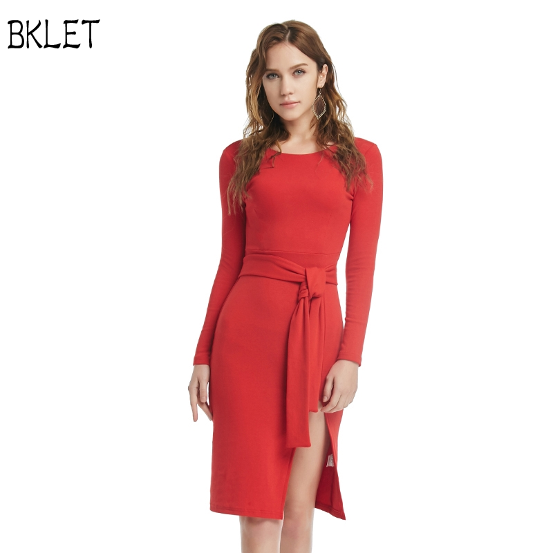 2018 Autumn Long sleeved Dress Elegant Lady Red Office Work Dress Knitted Round Neck Solid Color With Belt Knee Length Dress
