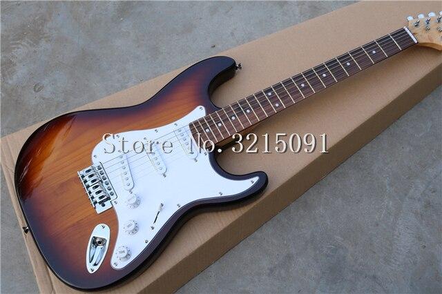 מפעל מותאם אישית טבק sunburst גוף גיטרה חשמלית עם SSS טנדרים, לבן pickguard, חומרת כרום, יכול להיות מותאם אישית